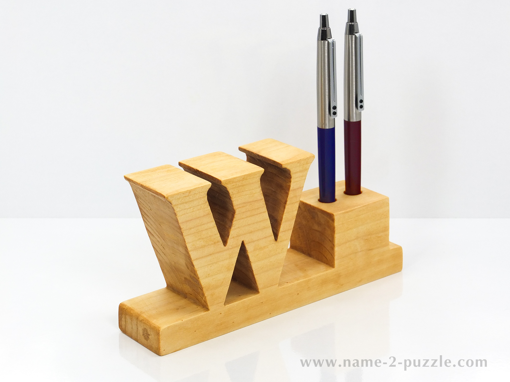 Wooden Office Gifts ~ Desk pen holders unique d name puzzles best